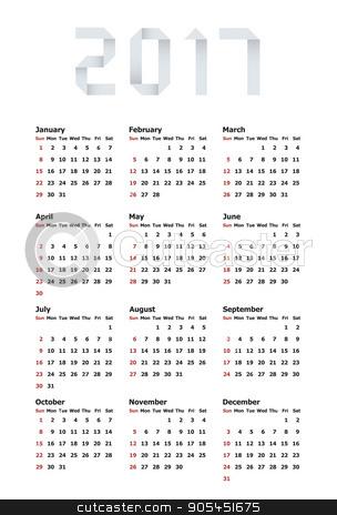 Vector modern calendar 2017 on white stock vector clipart, Vector modern calendar 2017 on white background by petr zaika