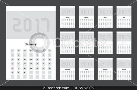 Vector modern calendar 2017 on black stock vector clipart, Vector modern calendar 2017 on black background by petr zaika