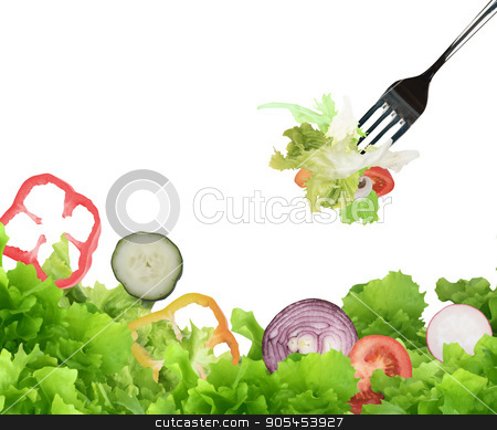 Background of mixed salad with a fork stock photo, Background of mixed salad eaten with a fork. Healthy food for wellness concept by Federico Caputo
