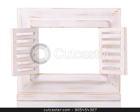 wooden picture frame isolated on white background with cut out blank space stock photo, Vintage wooden picture frame isolated on white background with cut out blank space by serkucher