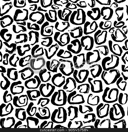 Vector illustration Leopard print seamless pattern. Black and white background stock vector clipart, Vector illustration Leopard print seamless background pattern. Black and white background. Vector illustration by Babii Anna