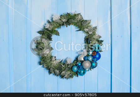 Christmas decorative circle from fir branches stock photo, Christmas decorative circle from fir branches on door by timonko