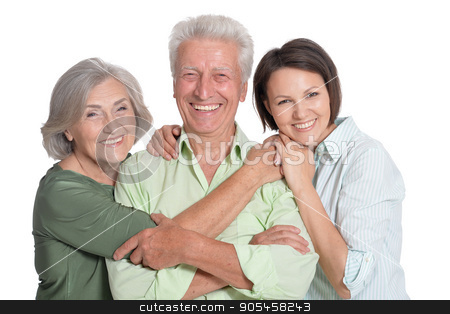 happy family portrait  stock photo, happy family portrait parents with adult daughter, close up by Ruslan Huzau