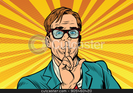 Businessman gesture Shh silence stock vector clipart, Businessman gesture Shh silence, pop art retro vector illustration by rogistok