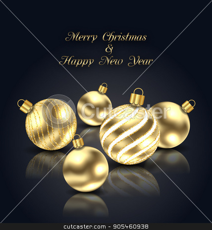 Christmas Golden Balls with Reflection on Black Background stock vector clipart, Illustration Christmas Golden Balls with Reflection on Black Background - Vector by -=Mad Dog=-