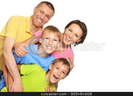 big happy family stock photo, big happy family posing on white background by Ruslan Huzau