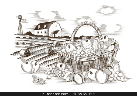 Fruits Basket And Farm stock vector clipart, Fruit basket in woodcut style, vector illustration. by ConceptCafe