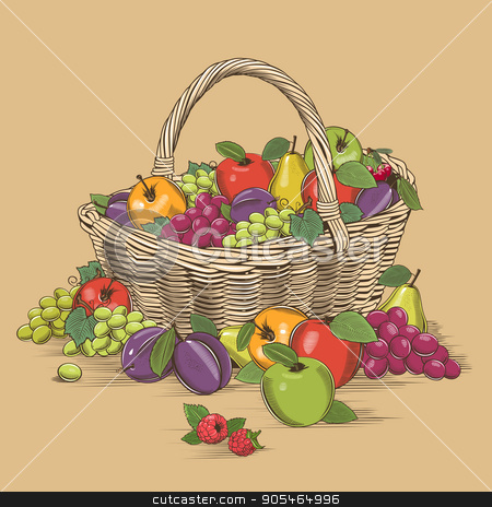 Fruits Basket In Woodcut Style stock vector clipart, Fruit basket in woodcut style, vector illustration. by ConceptCafe