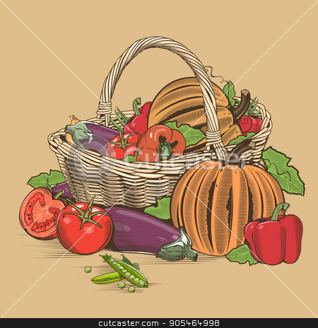 Basket Of Vegetables stock vector clipart, Vegetable basket in woodcut style, vector illustration. by ConceptCafe