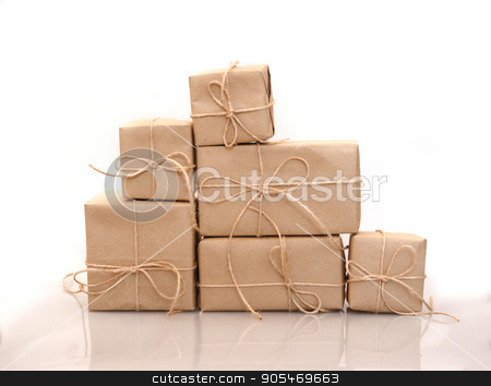 boxes of kraft paper isolated on white background stock photo, boxes of kraft paper isolated on white background by timonko