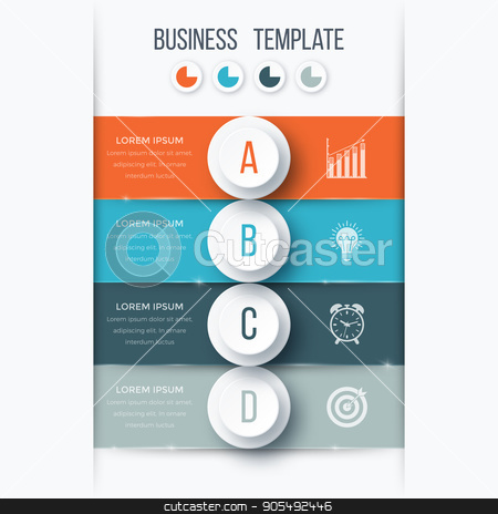 Infographics template four options with circle stock vector clipart, Infographics template four options with circles. Can be used for workflow layout, diagram, number options, step up options, web design, presentations by Amelisk