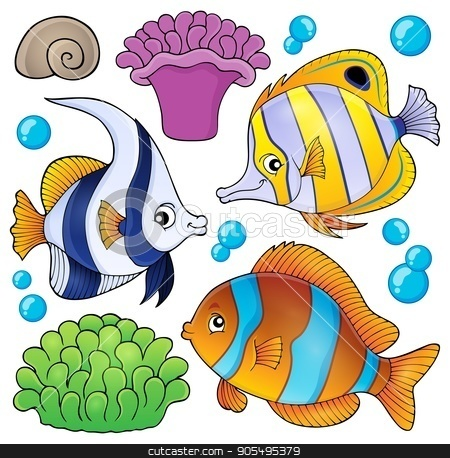 Coral reef fish theme collection 3 stock vector clipart, Coral reef fish theme collection 3 - eps10 vector illustration. by Klara Viskova