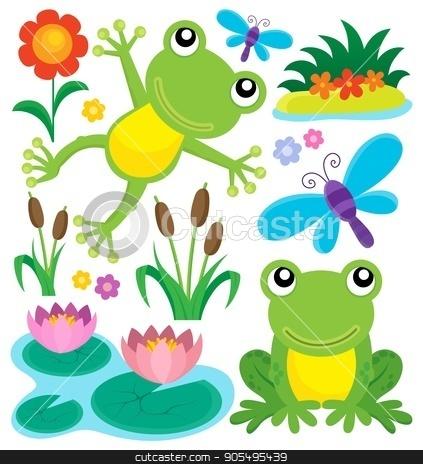 Frog thematic set 1 stock vector clipart, Frog thematic set 1 - eps10 vector illustration. by Klara Viskova