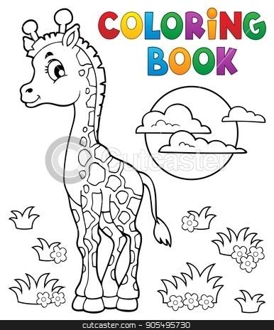 Coloring book young giraffe theme 2 stock vector clipart, Coloring book young giraffe theme 2 - eps10 vector illustration. by Klara Viskova