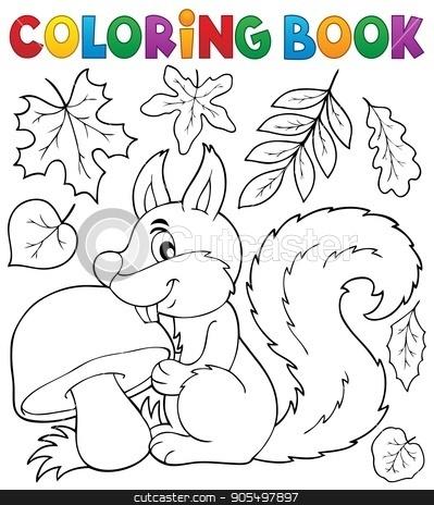 Coloring book squirrel theme 2 stock vector clipart, Coloring book squirrel theme 2 - eps10 vector illustration. by Klara Viskova