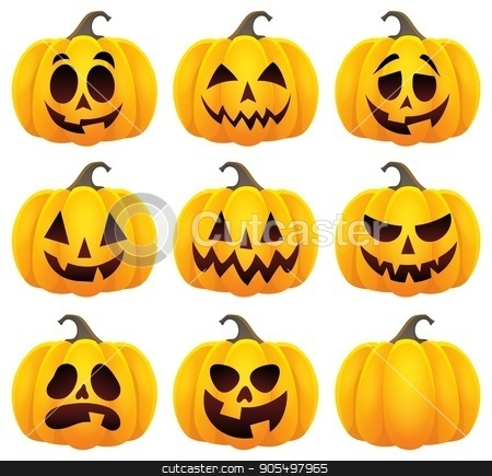 Halloween pumpkins theme set 1 stock vector clipart, Halloween pumpkins theme set 1 - eps10 vector illustration. by Klara Viskova
