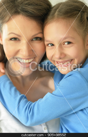 happy mother and daughter  stock photo, happy mother and daughter close up portrait by Ruslan Huzau