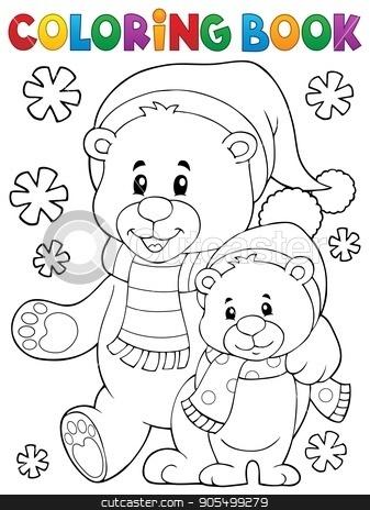 Coloring book winter bears theme 1 stock vector clipart, Coloring book winter bears theme 1 - eps10 vector illustration. by Klara Viskova