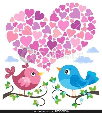 Valentine birds with heart shape theme 1 stock vector clipart, Valentine birds with heart shape theme 1 - eps10 vector illustration. by Klara Viskova