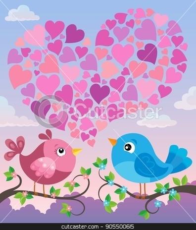 Valentine birds with heart shape theme 2 stock vector clipart, Valentine birds with heart shape theme 2 - eps10 vector illustration. by Klara Viskova