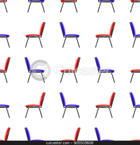 Blue and Red Office Chairs Seamless Pattern stock vector clipart, Blue and Red Office Chairs Seamless Patternon White Background. Side View. by valeo5