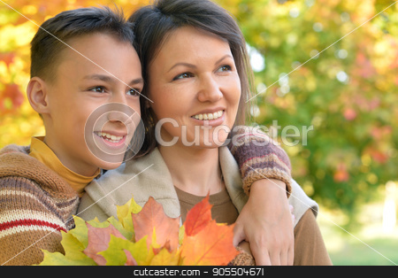 mother with son portrait  stock photo, Portrait of a mother with son close up by Ruslan Huzau
