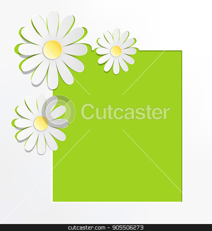 Three cutout chamomiles with frame on grayscale. Floral spring a stock vector clipart, Three cutout chamomiles with frame on grayscale. Floral spring abstract background by Makkuro_GL