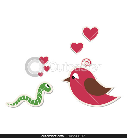 Cute loving worm and bird isolated on white  stock vector clipart, Cute loving worm and bird isolated on white background by Makkuro_GL