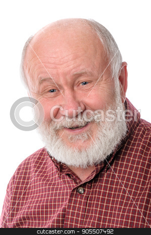 Cheerfull senior man isolated on white stock photo, Cheerful and calm handsome bald and bearded senior man, isolated on white background by Serghei Starus