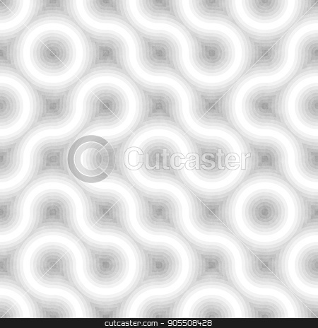 Seamless Black and White Tangled Round Stripes. Textured Geometric Pattern. stock photo, Seamless Black and White Tangled Round Stripes. Textured Geometric Pattern. Stylish Abstract Monochrome Background by CreatorsClub