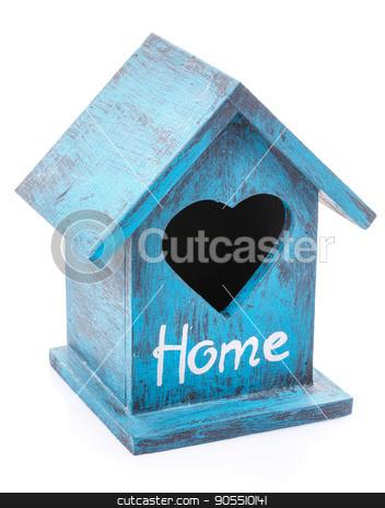 bird house on a white background. stock photo, blue bird house on a white background. by serkucher