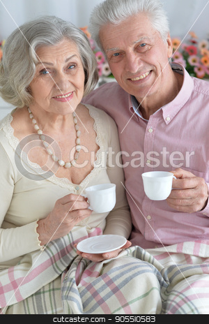 Happy elderly couple embracing stock photo, Portrait of a happy elderly couple embracing by Ruslan Huzau