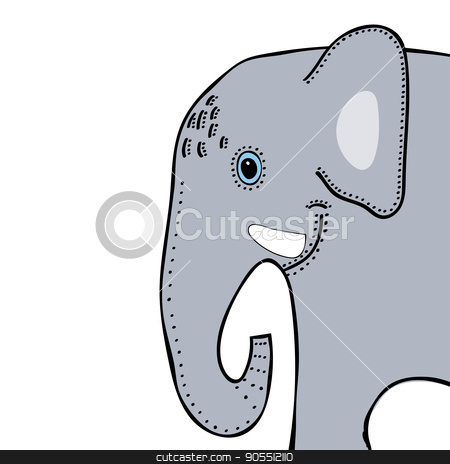 Elephant cute funny cartoon head stock vector clipart, Elephant cute funny cartoon head. Vector illustration by kozyrevaelena