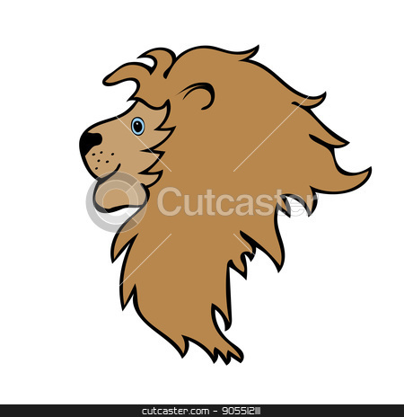 Lion cute funny cartoon head stock vector clipart, Lion cute funny cartoon head. Vector illustration by kozyrevaelena