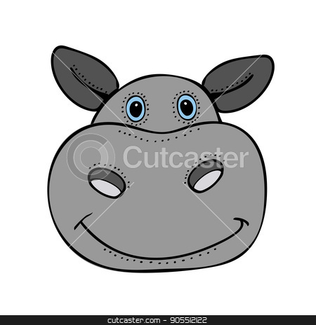Hippo cute funny cartoon head stock vector clipart, Hippo cute funny cartoon head. Vector illustration by kozyrevaelena