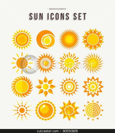 Simple sun icon set summer concept illustrations stock vector clipart, Set of sun icon illustrations, abstract yellow designs in flat art for weather or climate project. EPS10 vector. by Cienpies Design