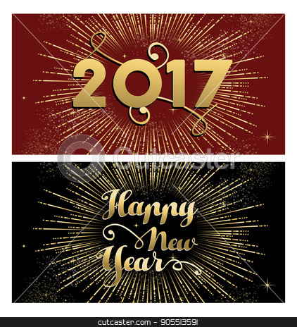 New Year 2017 gold firework greeting card set stock vector clipart, Happy New Year 2017, set of gold designs with firework explosion illustration. Ideal for holiday greeting card or poster. EPS10 vector.  by Cienpies Design