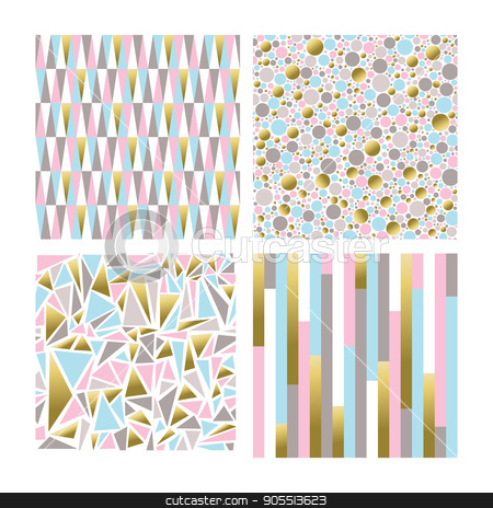 Set Of Geometric Shape Backgrounds In Gold Color Stock Vector