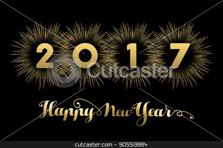 New Year 2017 gold design with fireworks  stock vector clipart, Happy New Year 2017 gold background with text quote and firework explosion. Luxury holiday greeting card design or cover banner. EPS10 vector. by Cienpies Design