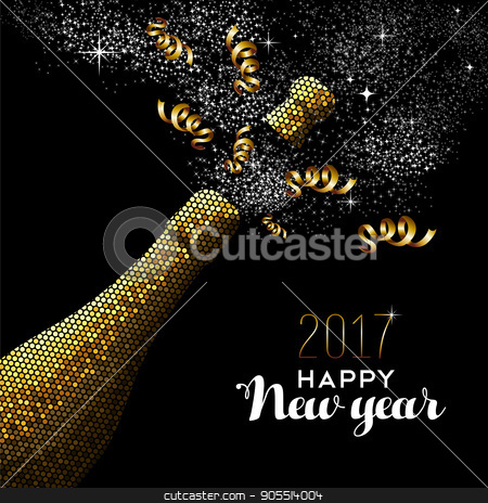 New Year 2017 gold drink bottle card design stock vector clipart, Happy new year 2017 gold champagne bottle celebration in mosaic style. Ideal for holiday card or elegant party invitation. EPS10 vector. by Cienpies Design