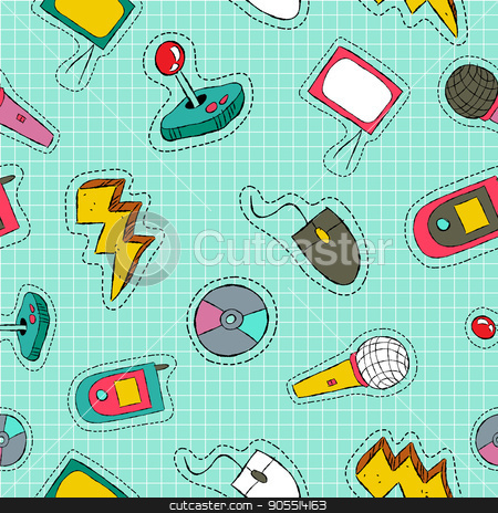 Retro technology patch icon seamless pattern stock vector clipart, Retro style hand drawn seamless pattern with 80s and 90s video game technology patch icons. Mobile phone, music, TV and more. EPS10 vector. by Cienpies Design