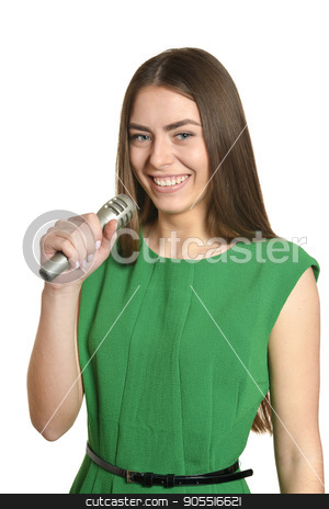 Young woman with microphone stock photo, Happy young woman with microphone on white background by Ruslan Huzau