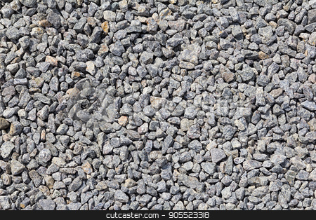 Background of gray granite gravel stock photo, Granite gravel of macadam, Rock gray crushed for construction on the ground, Scree texture background by Rokvel