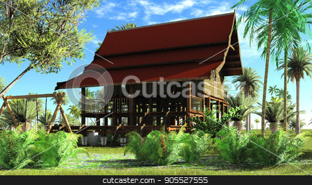 Thai style wooden hut 3d rendering stock photo, Thai style wooden hut on the north of Thailand by Dariusz Miszkiel