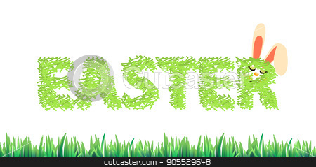 An Easter inscription from a grass with stock vector clipart, An Easter inscription from a grass with a rabbit sleeping. Illustration for your design by Kseniia