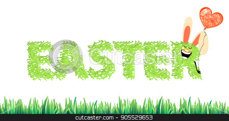 An inscription of easter grass stock vector clipart, An inscription of easter grass from rabbit ears and a balloon. Illustration for your design by Kseniia