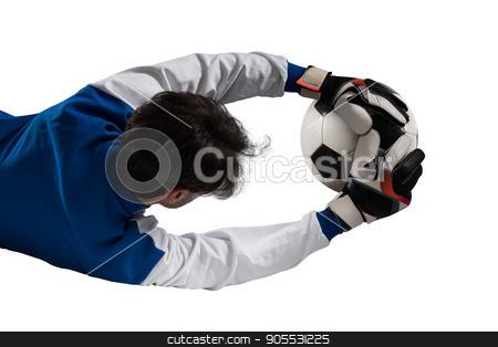 Goalkeeper catches the ball stock photo, Goalkeeper catches the ball during a football game by Federico Caputo
