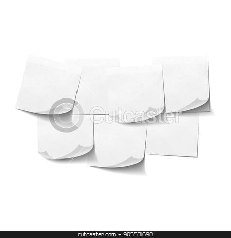 Set of white empty sticky notes on white stock vector clipart, Set of white empty sticky notes on white background by Evgeny