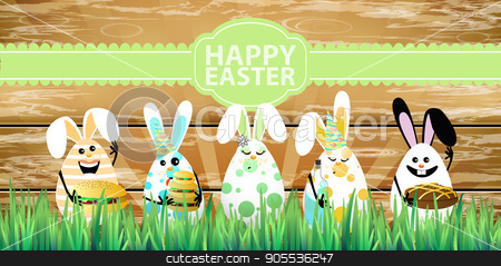 Easter. Rabbits-eggs in the grass stock vector clipart, Easter. Rabbits-eggs in the grass on a background of a wooden fence with rolls breakfast in hands and an inscription on a green ribbon. Illustration for your design by Kseniia