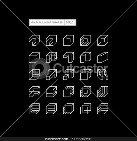 Geometric Shapes stock vector clipart, Set 25 Set 25 geometric shapes. Line design elements. Minimal vector illustration Line design elements. Minimal vector illustration by Ivan Kamzyst